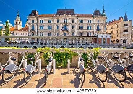 Ljubljana architecture and tourist bikes capital city of Slovenia