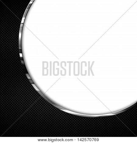 black and white carbon fiber and curve chromium frame. metal background. material design. 3d illustration.