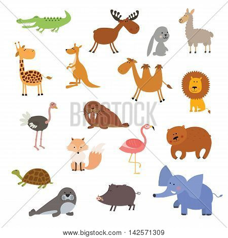 Big vector set of animals isolated on white background