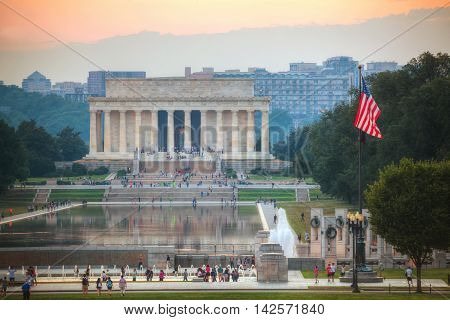 WASHINGTON DC - SEPTEMBER 1: Abraham Lincoln memorial with people on September 1 2015 in Washington DC. It's an American national monument built to honor the 16th President of the United States Abraham Lincoln