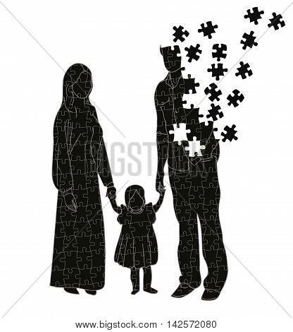silhouette of a family puzzle. family conflicts. vector illustration.