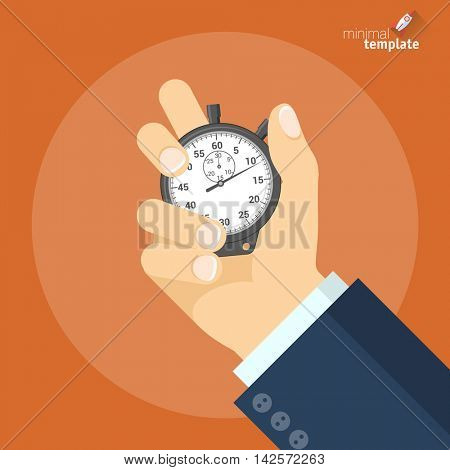 Hand Holding Stopwatch. Vector flat design icon mock up.