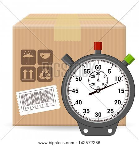 Brown closed carton parcel packaging box with fragile signs and bar code isolated on white background with stopwatch icon. Vector template for online shopping, shipping, delivery.