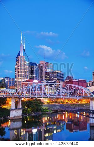 The downtown Nashville Tennessee cityscape at night