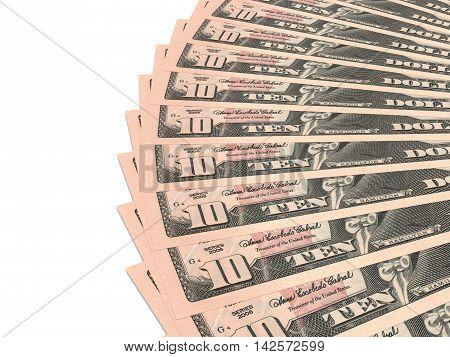 Money fan on white background. Ten dollars. 3D illustration.