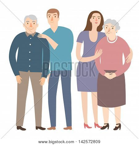 Lovely cartoon grandparents with young man and woman. Family and relationships vector illustration for your design.