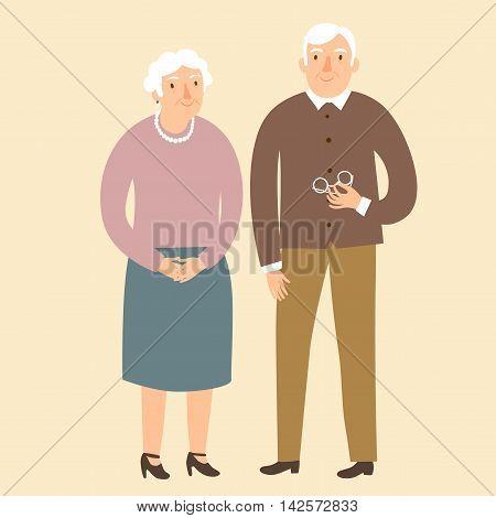 Lovely cartoon grandparents. Vector illustration for your design.