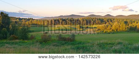 panoramic landscape rural country scene mountains sky