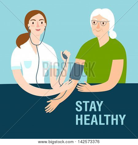 Woman doctor measuring arterial pressure to old lady. Healthcare and medical vector illustration for your design.