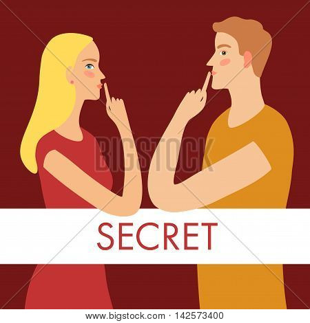 Cartoon pair man and woman keeping secrets and holding finger on the lips. With secret title on label. Characters illustrations for your design.