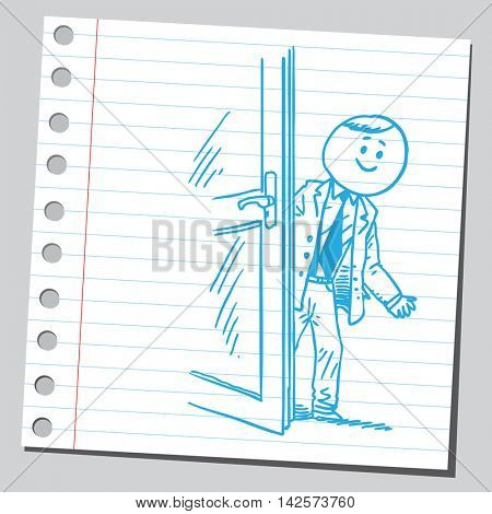Businessman behind door