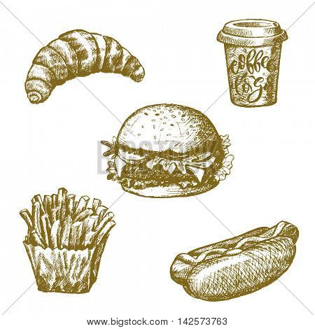 Fast food sketch. Cheeseburger, hot dog, hamburger, french fries, croissant, burger, sandwich, milkshake drink. Snacks and desserts isolated pencil drawn icons