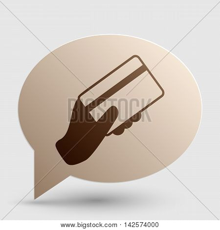 Hand holding a credit card. Brown gradient icon on bubble with shadow.