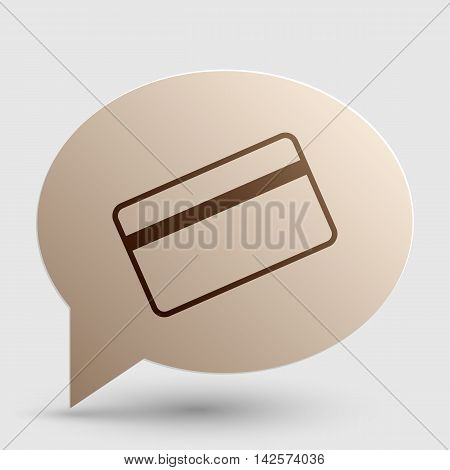 Credit card symbol for download. Brown gradient icon on bubble with shadow.