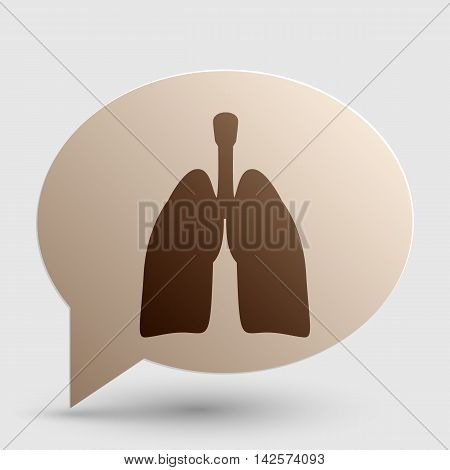 Human organs Lungs sign. Brown gradient icon on bubble with shadow.