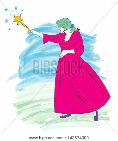 Pretty fairy in pink dress creates magic with the help of a magic wand. Cartoon vector illustration