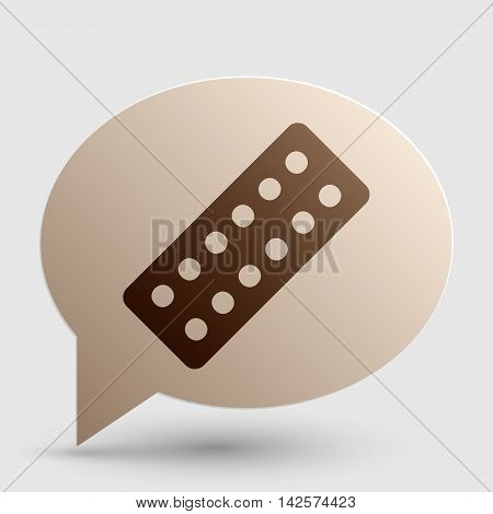 Medical Pills sign. Brown gradient icon on bubble with shadow.