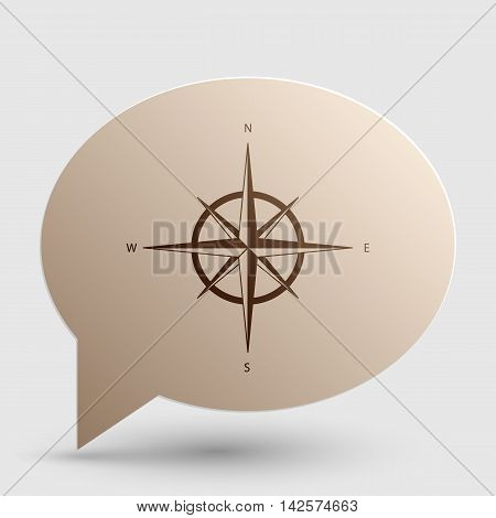 Wind rose sign. Brown gradient icon on bubble with shadow.