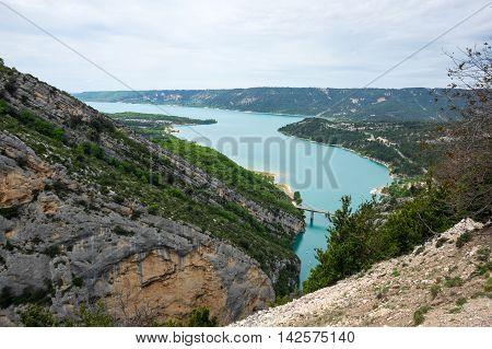 Top view on Lac de Sainte-Croix in Provence France