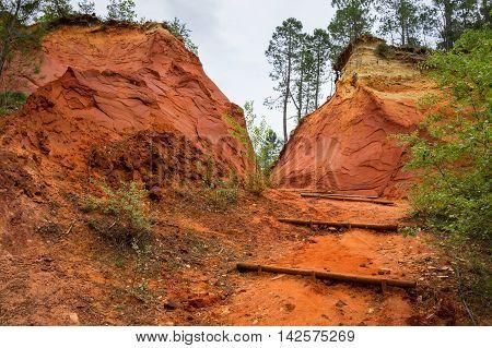 Red rocks of Colorado provencal in Rustrel France