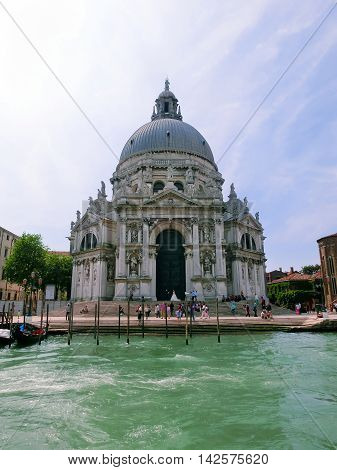 Venice, Italy - May 10, 2014: A sea view to the Basilica Santa Maria della Salute, Venice
