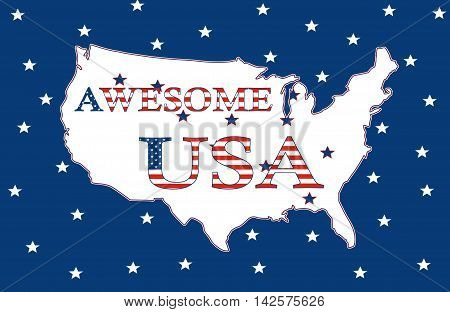 Awesome USA, Stars And Stripes Poster 05a
