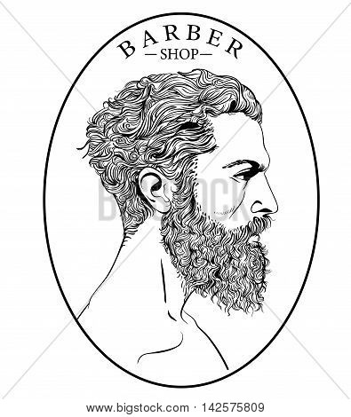 Hipster fashion Barber men with tattoo. Vector illustration.