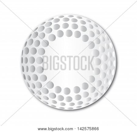 Typical golf ball with dimples over a white background