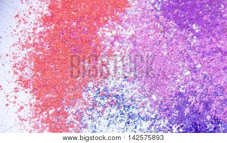 Eyeshadow Cosmetic Powder Scattered Copy Space. various set isolated on white background. The concept of fashion and beauty industry. Abstract, place text, the texture mineral makeup