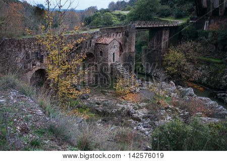 Old bridge with a small chapel at Karytaina, Peloponnese in Greece