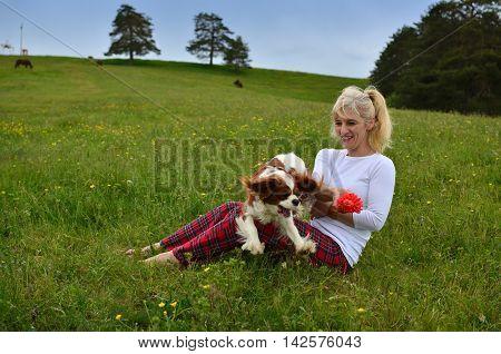 Playful Dog And Woman