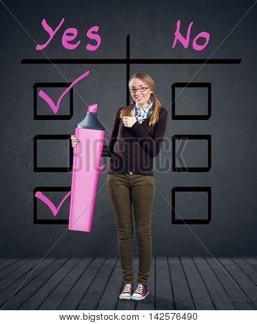 girl checking reason for yes and no