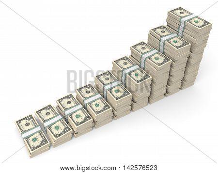 Money Stacks Graph. One Dollar.