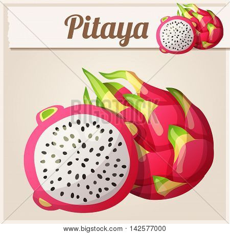 Pitaya Dragon fruit fruit. Cartoon vector icon. Series of food and drink and ingredients for cooking.