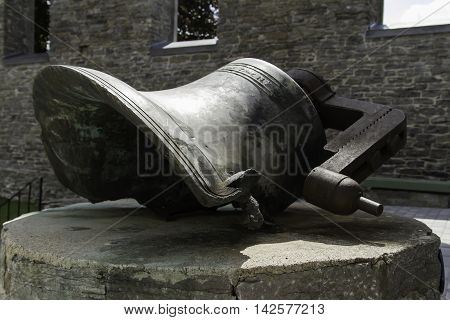 A Church Bell monument Melted from a fire
