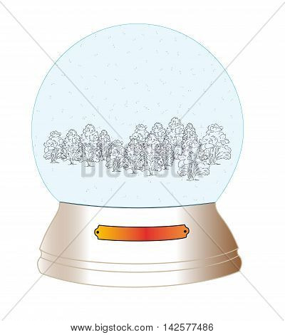 christmas, new year. glass, snow globe. cabin in the woods. composition in a bowl. vector illustration