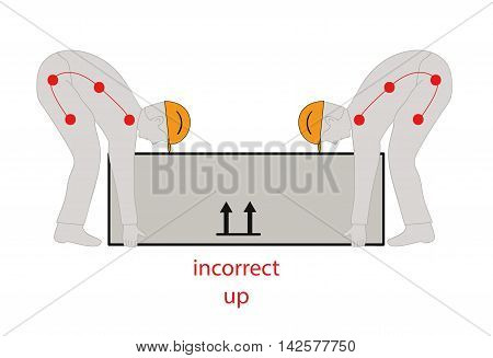 incorrect posture to lift a heavy object safely. Health care vector illustration