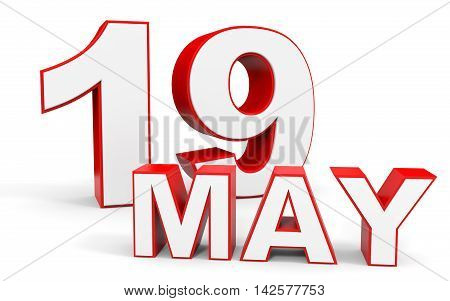 May 19. 3D Text On White Background.