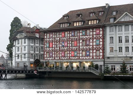 Lucerne, Switzerland - Novembre 24 2016. House near the lake with the design of the casino table