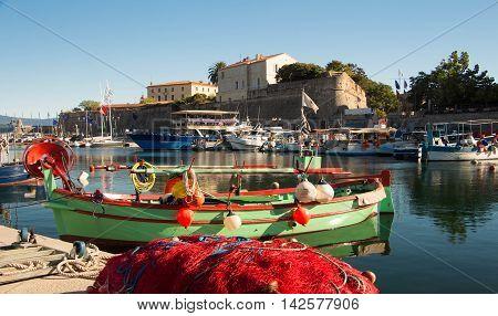 The colorful fishing boat in Ajaccio port Corsica island France.