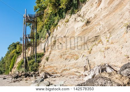 A vertical staircase rises straight up next to a hill at Saltwater State Park in Des Moines Washington.