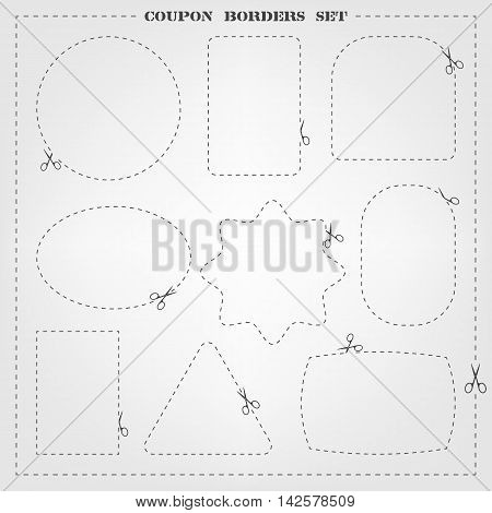 Vector set of 9 coupon borders templates with scissors. Fully editable cut line frame collection for packaging, coupons, sale banners, clothing tags design and your different projects.