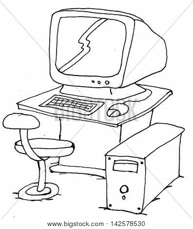 hand drawing computer with white background - illustration