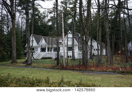 WEQUETONSING, MICHIGAN / UNITED STATES - DECEMBER 22, 2015: A home, christened