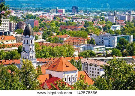 City of Ljubljana architecture and green landscape capital of Slovenia