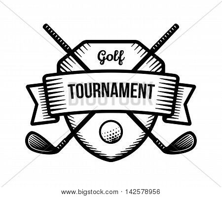 Golf vector logo. Summer individual sport tournament. Black and white badge shirt mascot design.