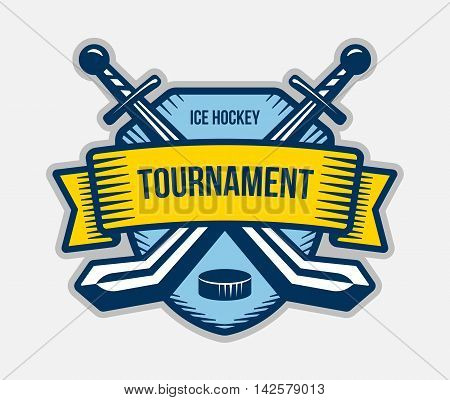 Ice hockey vector logo. Winter team sport tournament. Knight pirate buccaneer warrior sword mascot. Color badge shirt design.