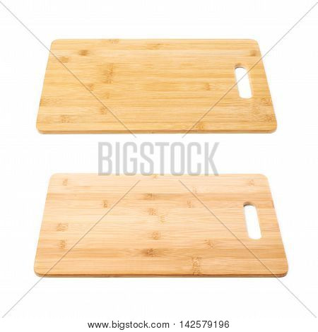 Wooden cutting board isolated over the white background, set of two different foreshortenings