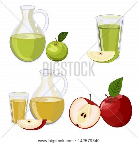 Full jug of apple juice, isolated on white vector set. Glass jug of apple juice fruit fresh beverage natural green organic vitamin. Vector set fresh and cold apple juice healthy fruit drink