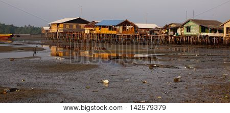 Stilted houses in village on a Island in Indonesia